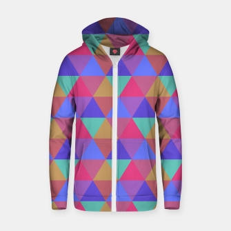 Thumbnail image of Multicoloured Geometric Triangles Digital Repeat Pattern Cotton zip up hoodie, Live Heroes