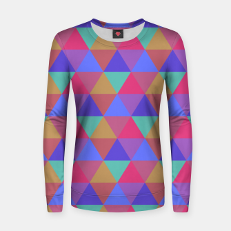 Thumbnail image of Multicoloured Geometric Triangles Digital Repeat Pattern Woman cotton sweater, Live Heroes