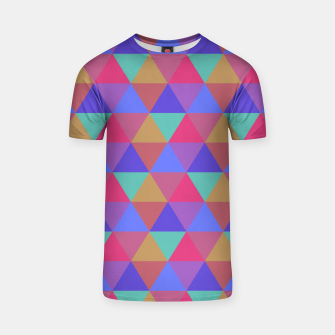 Thumbnail image of Multicoloured Geometric Triangles Digital Repeat Pattern T-shirt, Live Heroes