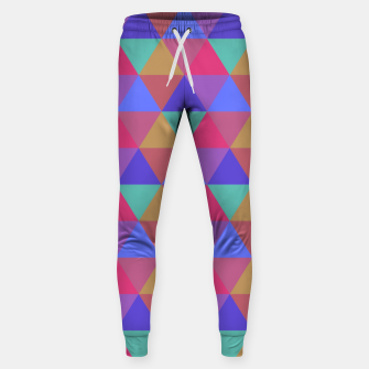 Thumbnail image of Multicoloured Geometric Triangles Digital Repeat Pattern Cotton sweatpants, Live Heroes