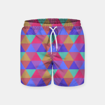 Thumbnail image of Multicoloured Geometric Triangles Digital Repeat Pattern Swim Shorts, Live Heroes