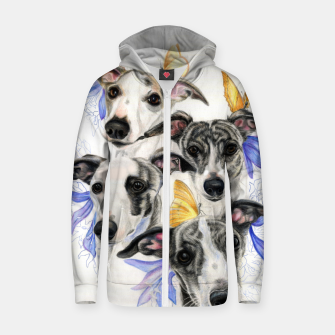 Miniatur Whippets Cotton zip up hoodie, Live Heroes