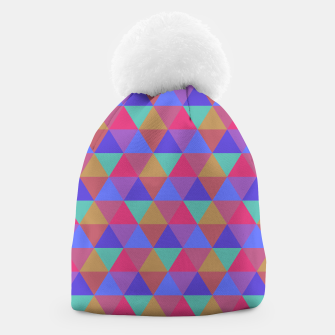Thumbnail image of Multicoloured Geometric Triangles Digital Repeat Pattern Beanie, Live Heroes