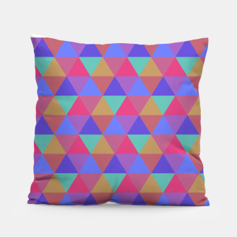 Thumbnail image of Multicoloured Geometric Triangles Digital Repeat Pattern Pillow, Live Heroes