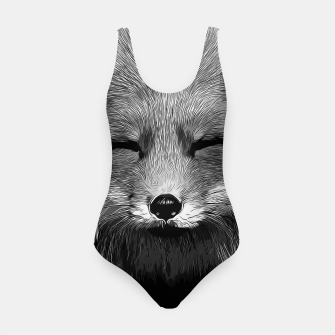 Thumbnail image of gxp happy fox smiling v2 vector art black white Swimsuit, Live Heroes