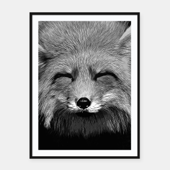 Thumbnail image of gxp happy fox smiling v2 vector art black white Framed poster, Live Heroes
