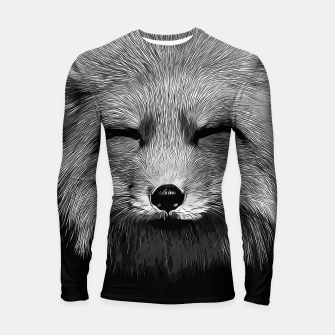 Thumbnail image of gxp happy fox smiling v2 vector art black white Longsleeve rashguard , Live Heroes