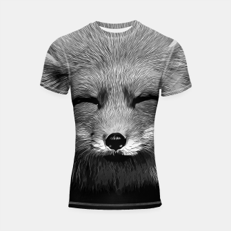 Imagen en miniatura de gxp happy fox smiling v2 vector art black white Shortsleeve rashguard, Live Heroes