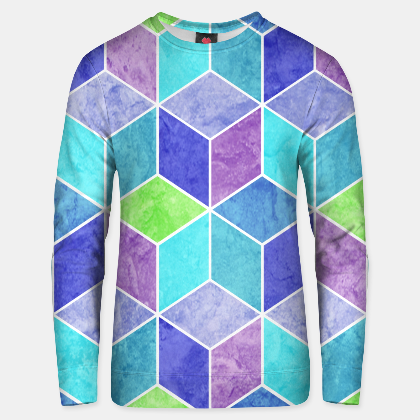 Image of Blue and Purple Geometric Hexagons Textured Digital Pattern Cotton sweater - Live Heroes