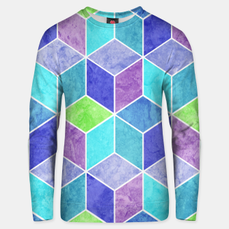 Thumbnail image of Blue and Purple Geometric Hexagons Textured Digital Pattern Cotton sweater, Live Heroes