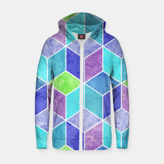 Blue and Purple Geometric Hexagons Textured Digital Pattern Cotton zip up hoodie thumbnail image