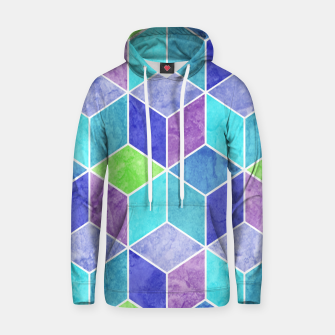 Blue and Purple Geometric Hexagons Textured Digital Pattern Cotton hoodie thumbnail image