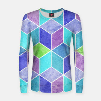Blue and Purple Geometric Hexagons Textured Digital Pattern Woman cotton sweater thumbnail image