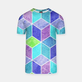 Blue and Purple Geometric Hexagons Textured Digital Pattern T-shirt thumbnail image