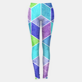 Thumbnail image of Blue and Purple Geometric Hexagons Textured Digital Pattern Leggings, Live Heroes