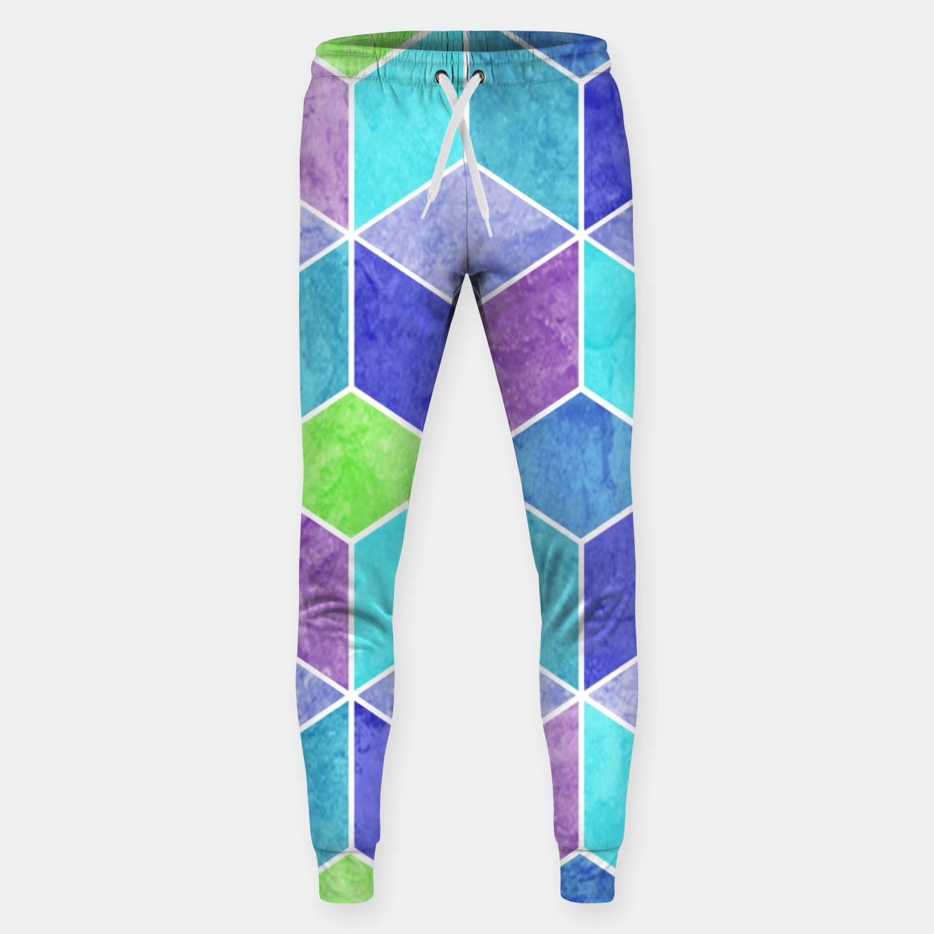 Image of Blue and Purple Geometric Hexagons Textured Digital Pattern Cotton sweatpants - Live Heroes