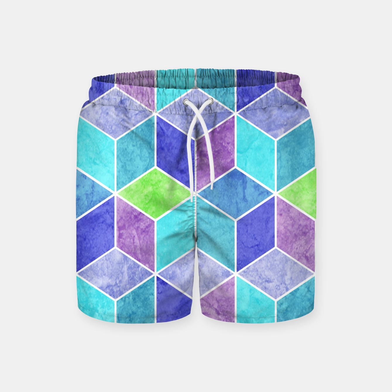 Image of Blue and Purple Geometric Hexagons Textured Digital Pattern Swim Shorts - Live Heroes