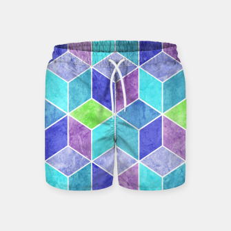 Blue and Purple Geometric Hexagons Textured Digital Pattern Swim Shorts thumbnail image