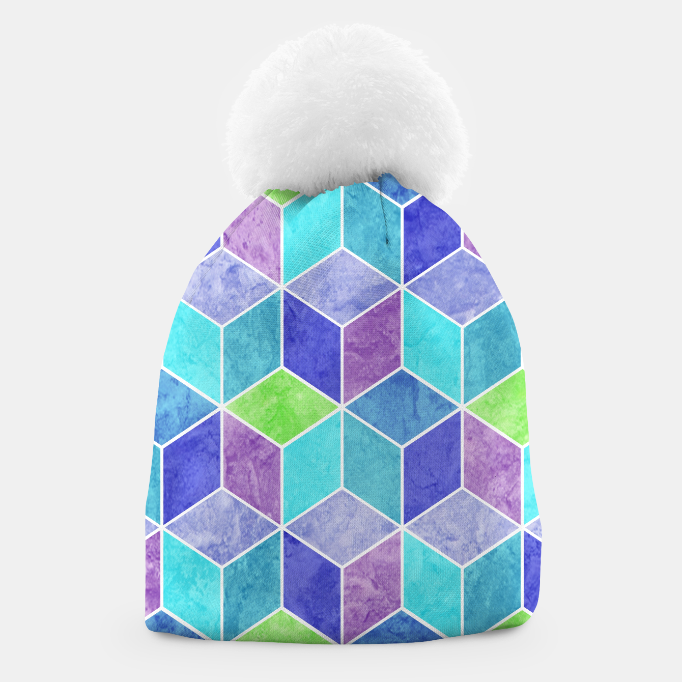 Image of Blue and Purple Geometric Hexagons Textured Digital Pattern Beanie - Live Heroes