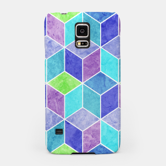 Blue and Purple Geometric Hexagons Textured Digital Pattern Samsung Case thumbnail image