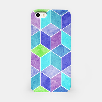 Blue and Purple Geometric Hexagons Textured Digital Pattern iPhone Case thumbnail image