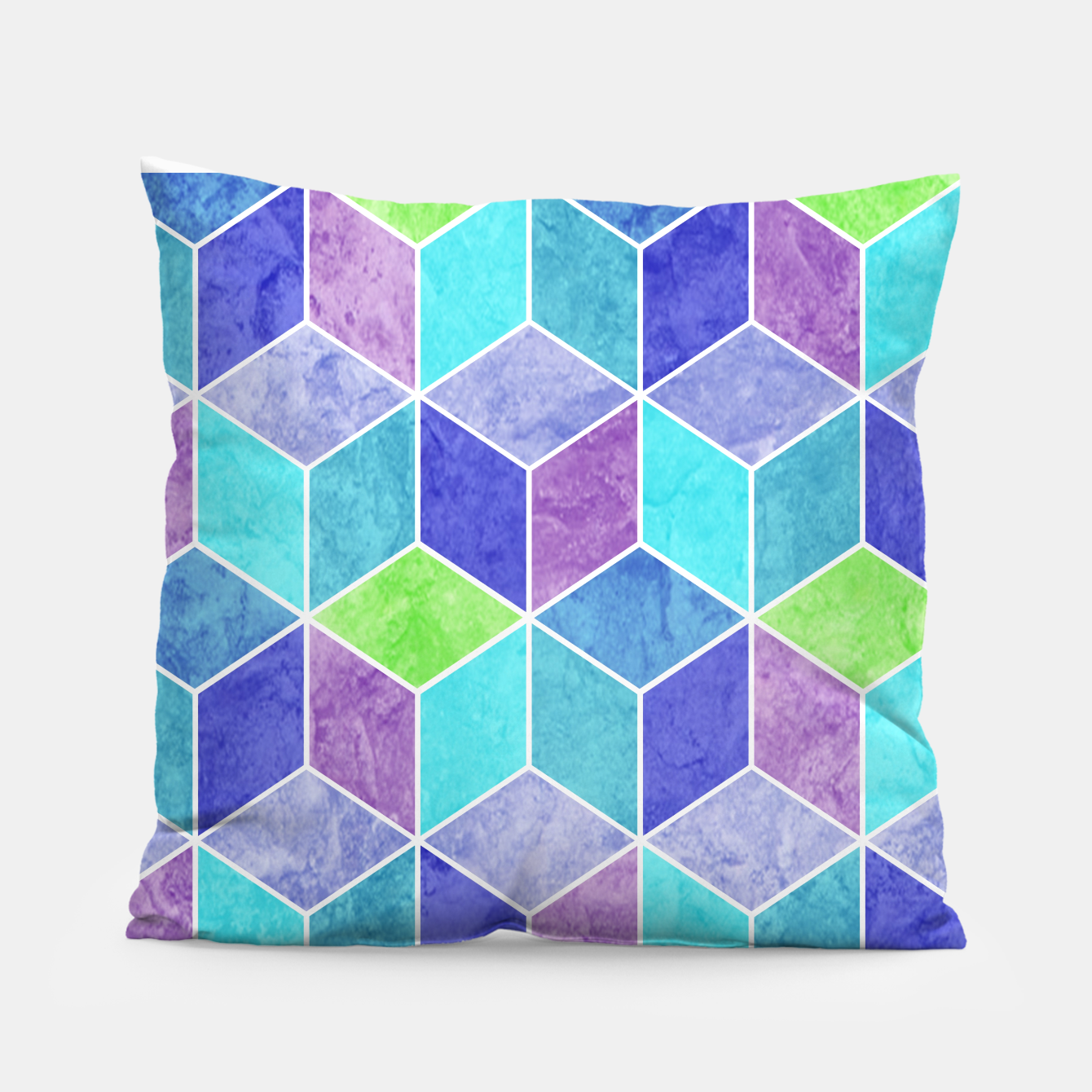 Image of Blue and Purple Geometric Hexagons Textured Digital Pattern Pillow - Live Heroes