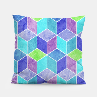 Blue and Purple Geometric Hexagons Textured Digital Pattern Pillow thumbnail image