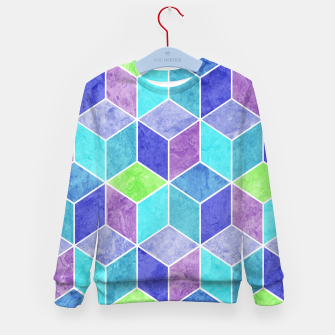 Blue and Purple Geometric Hexagons Textured Digital Pattern Kid's sweater thumbnail image