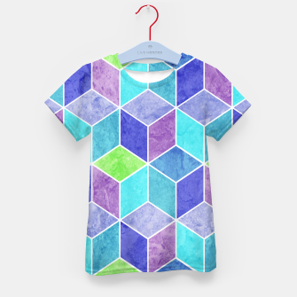 Thumbnail image of Blue and Purple Geometric Hexagons Textured Digital Pattern Kid's t-shirt, Live Heroes