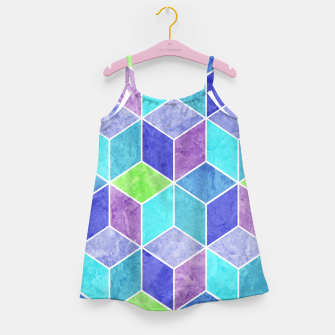 Blue and Purple Geometric Hexagons Textured Digital Pattern Girl's dress thumbnail image