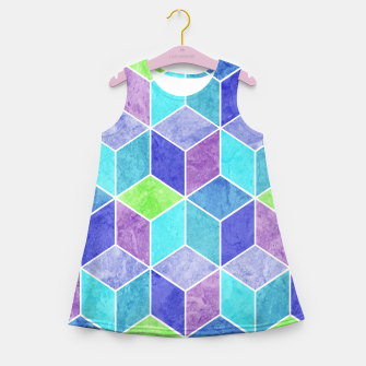 Blue and Purple Geometric Hexagons Textured Digital Pattern Girl's summer dress thumbnail image