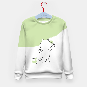 Thumbnail image of Malende Katze Kater Painting Cat Kitty Kindersweatshirt, Live Heroes