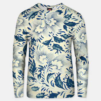 Thumbnail image of Blue white Chinese floral motifs Cotton sweater, Live Heroes