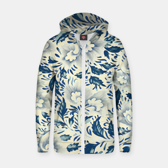 Thumbnail image of Blue white Chinese floral motifs Cotton zip up hoodie, Live Heroes