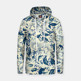 Thumbnail image of Blue white Chinese floral motifs Cotton hoodie, Live Heroes