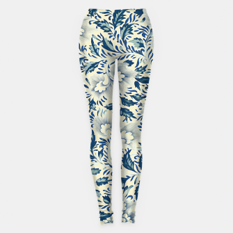 Thumbnail image of Blue white Chinese floral motifs Leggings, Live Heroes
