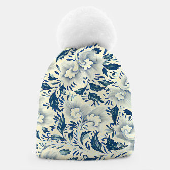 Thumbnail image of Blue white Chinese floral motifs Beanie, Live Heroes