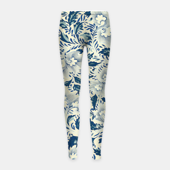 Thumbnail image of Blue white Chinese floral motifs Girl's leggings, Live Heroes