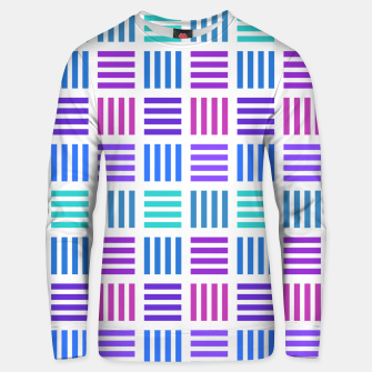 Thumbnail image of Blue and Purple Geometric Block Stripes Repeat Digital Pattern Cotton sweater, Live Heroes
