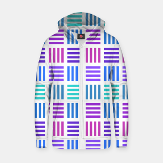 Thumbnail image of Blue and Purple Geometric Block Stripes Repeat Digital Pattern Cotton zip up hoodie, Live Heroes