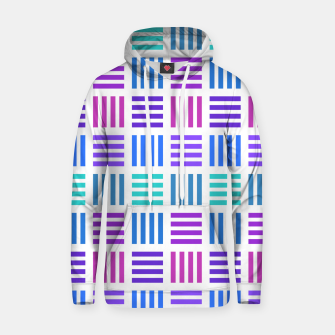 Thumbnail image of Blue and Purple Geometric Block Stripes Repeat Digital Pattern Cotton hoodie, Live Heroes