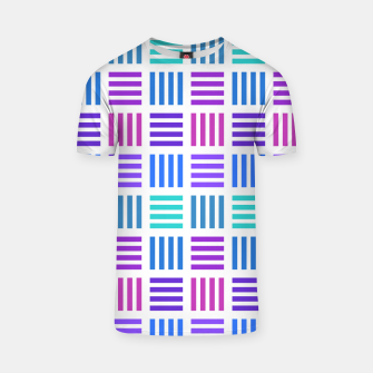 Thumbnail image of Blue and Purple Geometric Block Stripes Repeat Digital Pattern T-shirt, Live Heroes