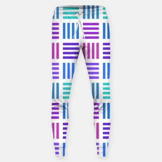 Thumbnail image of Blue and Purple Geometric Block Stripes Repeat Digital Pattern Cotton sweatpants, Live Heroes