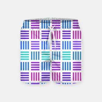 Imagen en miniatura de Blue and Purple Geometric Block Stripes Repeat Digital Pattern Swim Shorts, Live Heroes