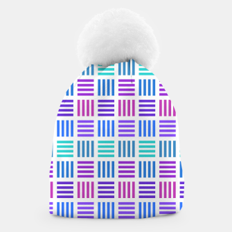 Thumbnail image of Blue and Purple Geometric Block Stripes Repeat Digital Pattern Beanie, Live Heroes