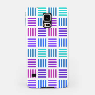 Thumbnail image of Blue and Purple Geometric Block Stripes Repeat Digital Pattern Samsung Case, Live Heroes