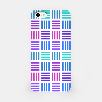 Thumbnail image of Blue and Purple Geometric Block Stripes Repeat Digital Pattern iPhone Case, Live Heroes