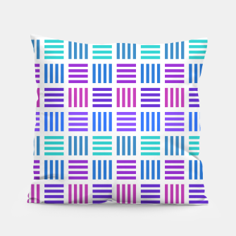 Thumbnail image of Blue and Purple Geometric Block Stripes Repeat Digital Pattern Pillow, Live Heroes
