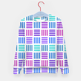 Thumbnail image of Blue and Purple Geometric Block Stripes Repeat Digital Pattern Kid's sweater, Live Heroes
