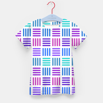 Thumbnail image of Blue and Purple Geometric Block Stripes Repeat Digital Pattern Kid's t-shirt, Live Heroes